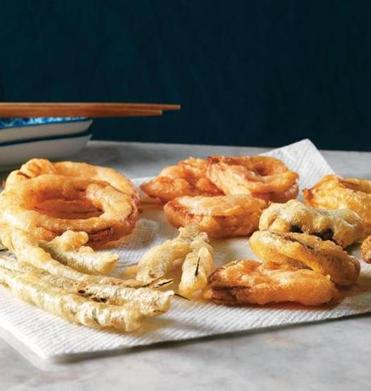 For tempura you fry at home, simply trim green beans and asparagus, cut squid bodies into rings, halve large mushrooms, and cut small onions and sweet potatoes into 3/8-inch slices.