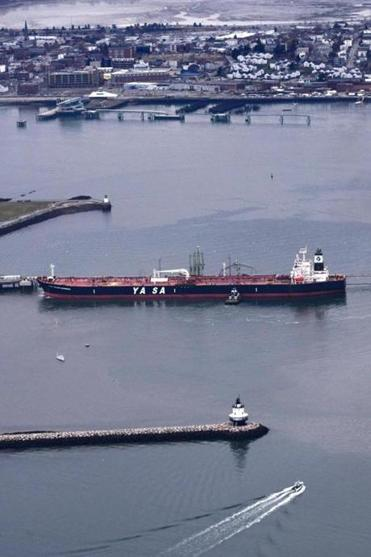 A tanker prepared to offload crude oil in South Portland, Maine.