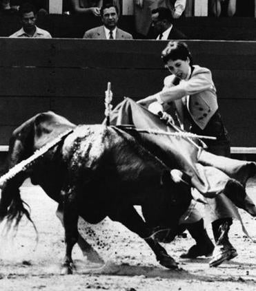 Patricia McCormick, shown fighting a bull in Mexico in 1955, studied art and music at Texas Western College.