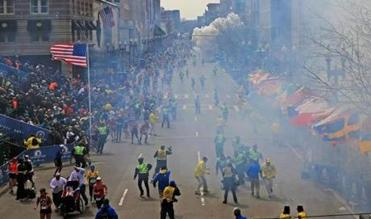Just seconds after the first explosion rocked the area near the Boston Marathon finish line at about 2:50 p.m., there was a second blast a few blocks away on Boylston Street.