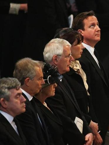 Gordon Brown, Tony Blair, Norma Major, John Major, Samantha Cameron, and Prime Minister David Cameron were among the mourners at St. Paul's Cathedral.