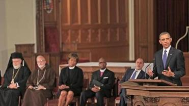 President Obama speaking at the Healing Our City interfaith service at Cathedral of the Holy Cross in Boston three days after the Marathon bombings. The Rev. Liz Walker was among the clergy who spoke at the service.
