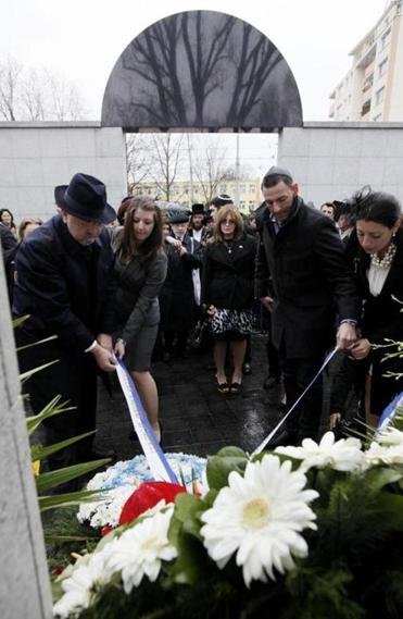 A wreath-laying ceremony was among the events Friday marking the 70th anniversary of the start of the Warsaw ghetto uprising by Jewish fighters against German Nazi forces.