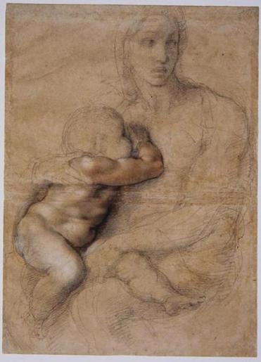 "Michelangelo's ""Madonna and Child,"" part of the Museum of Fine Arts exhibit of the artist's drawings."