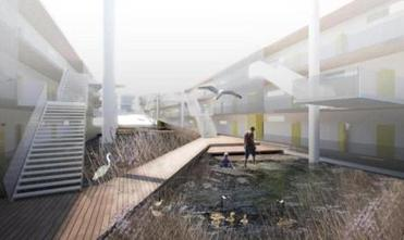 A rendering of a family activity zone within the floating courtyard.