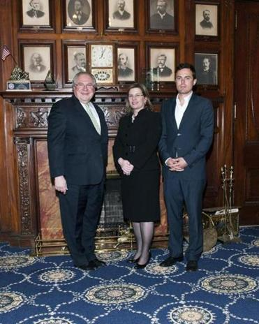 From left: House Speaker Robert A. DeLeo, State Representative Marjorie C. Decker, and Casey Affleck.