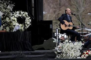James Taylor performed two songs during the service.
