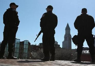 As investigators pored overamountain of evidence, areas of Boston, such as City Hall Plaza, remained on high alert.