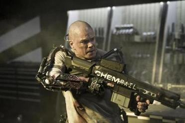 "A bald Matt Damon stars in Columbia Pictures' ""Elysium."""
