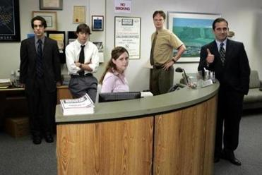 "In its first season, ""The Office"" cast included (from left) B.J. Novak as Ryan Howard, John Krasinski as Jim  Halpert, Jenna Fischer as Pam Beesly, Rainn Wilson as Dwight Schrute, and Steve Carell as Michael Scott."