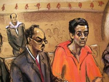 A courtroom drawing shows Robel Phillipos, right, his attorney, Derege B. Demissie, and his mother, Genet Bekele, in the background.