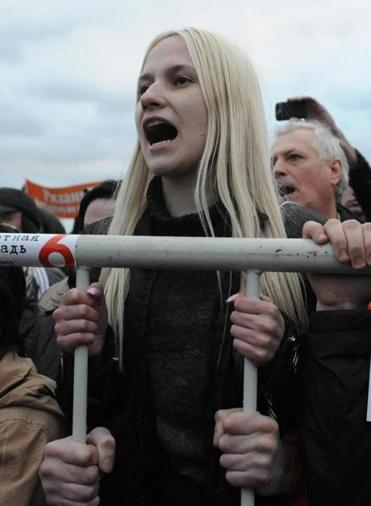 Anti-Putin protesters vented their anger at a rally in Bolotnaya Square in Moscow on Monday.