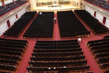 The concert hall after the final show of the BSO season on Sunday before the transformation to the Pops setup.
