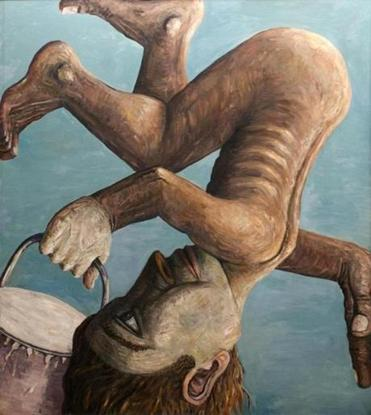 """Upside Down Guy (Falling Painter)"" is among the works by Jon Imber that are featured in the exhibit at Queens College."