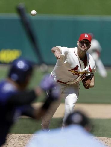The Cardinals' Adam Wainwright didn't allow a hit for 7⅓  innings while shutting out the Rockies.