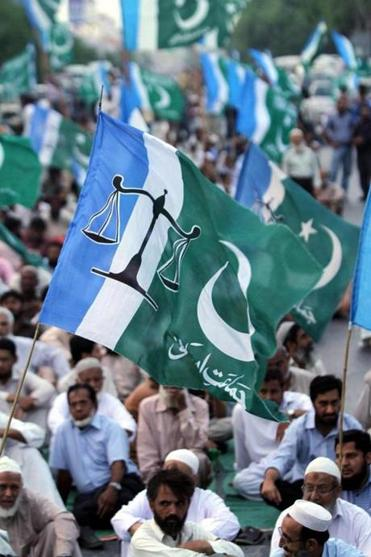 Supporters of Islamic party Jamat-e-Islami shouted slogans alleging voter fraud in Karachi, Pakistan, on Tuesday. They boycotted the parliamentary elections in that city.