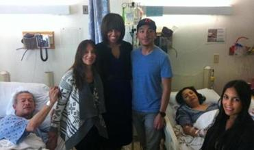 The Galvis family — from left, Alvaro, Erika, Leonardo, Martha, and Marthica — met with Michelle Obama during her visit to Brigham and Women's Hospital after the Marathon bombings.