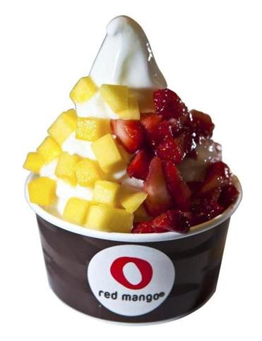 Vanilla frozen yogurt with mango and strawberry toppings at Red Mango in Boston.
