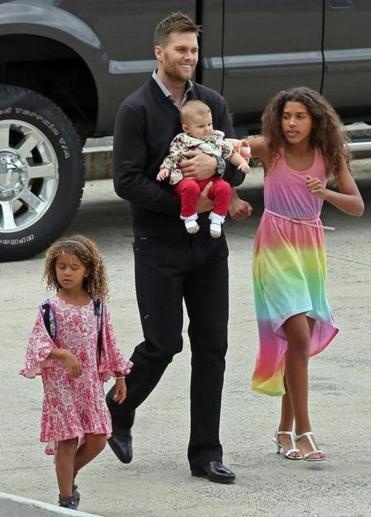 Tom Brady with his daughter Vivian and nieces on Saturday.