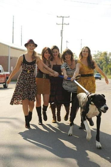 Della Mae band members are (from left) bassist Shelby Means, mandolin player Jenni Lyn Gardner, singer Celia Woodsmith, fiddler Kimber Ludiker, and guitarist Courtney Hartman.