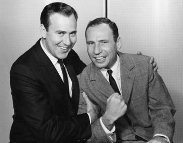 "Carl Reiner (left) and Mel Brooks in their ""2000 Year Old Man"" routine, a skit they created in 1961."