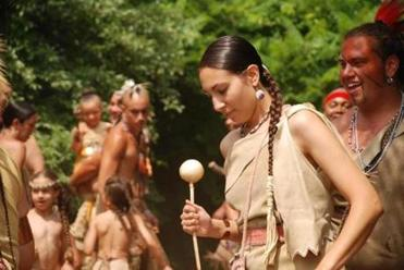 The strawberry festival at Plimoth Plantation includes Native American music and dance.