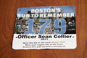 The bib worn by runners will honor slain MIT Police Officer Sean Collier.