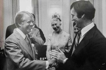 Earlier in his career, Nolan with President Carter.