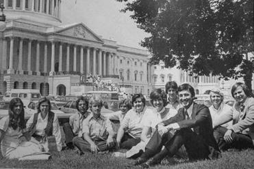 The Minnesota Democrat relaxed with his staff in 1977.