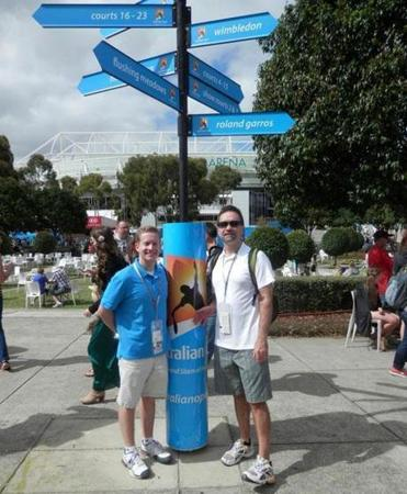 Nicholas and Marty Pantages didn't need a guidepost (such as this one at the Australian Open) to find their way to all the tennis Grand Slam events.