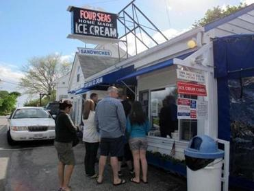 Four Seas Ice Cream is a popular stop on the way to or from Craigville Beach.