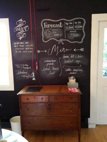 In the breakfast lounge you'll find the day's weather, tides, and menu written on a large chalkboard .