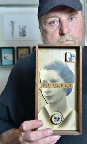 Former mail carrier Clint Chadsey of Melrose now delivers messages in his box assemblages and collages.