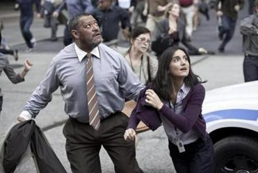Laurence Fishburne as Perry White and Rebecca Buller as Jenny.