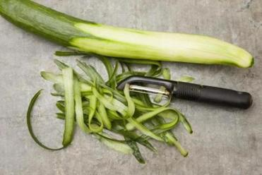 TIP: If you're using English cucumbers, leave ¼ of the skin on one of them. With standard cukes, peel them all completely.