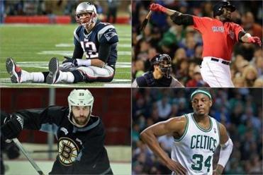 (Clockwise from left) Patriots quarterback Tom Brady is still zinging passes at 35. David Ortiz, 37, is under contract with the Sox until he is 39. Paul Pierce, 35, uses a hyperbaric chamber to recover faster. Zdeno Chara, 36, gets more ice time than younger teammates.