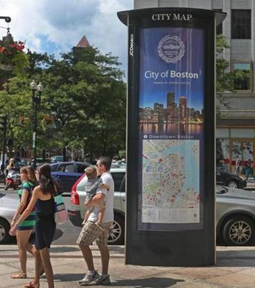 The map on the information kiosk at Boylston and Clarendon streets does not show that intersection. Residents had called the company with complaints about the kiosk maps.
