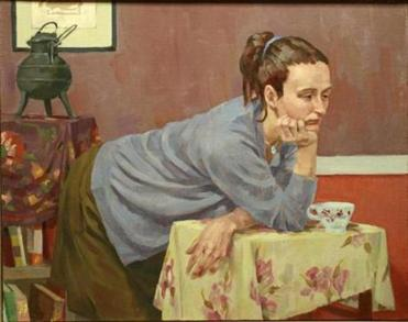 """Woman Leaning on Table."""