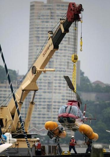 A helicopter was hoisted from the Hudson River Sunday. No one was injured.