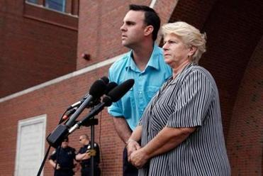 Tommy Donahue and his mother, Patricia, after witness John Morris apologized for Michael Donahue's 1982 death.