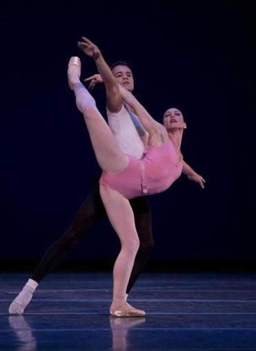 "Kathleen Breen Combes and Paulo Arrais in George Balanchine's ""Symphony in Three Movements.''"