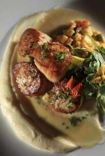 Seared scallops in parsnip puree and corn veloute with a summer succotash.
