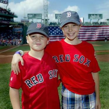 Jack and Jordan Joyce were honorary Red Sox bat kids.