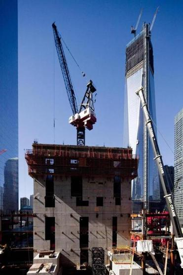A crane worked on the seventh floor of 3 World Trade Center in October.