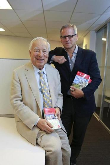 Arthur Frommer (left) and David Steinberger, the CEO of Perseus Books. A Perseus division will distribute and help market the new Frommer travel guides.