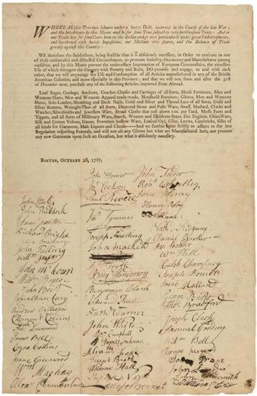 "The Houghton Library at Harvard recently rediscovered eight ""subscription sheets,"" protest petitions drawn up at a meeting in Faneuil Hall on Oct. 28, 1767, in response to new taxes on a range of goods imported to the Colonies."
