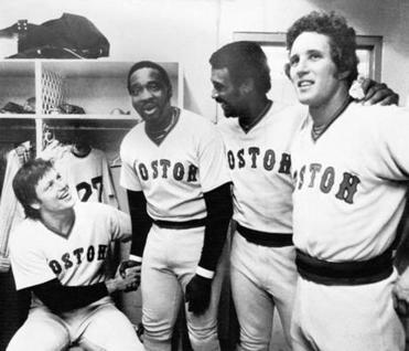 Carlton Fisk (from left), Mr. Scott, Jim Rice, and Butch Hobson were among the many Red Sox sluggers in 1977.