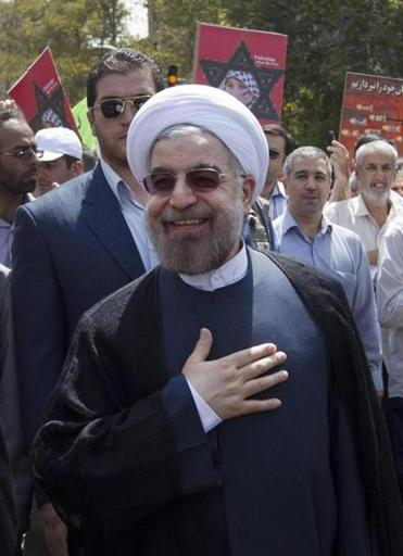 Iran's president-elect, Hasan Rouhani, made the disputed comment at the pro-Palestinian holiday rally.