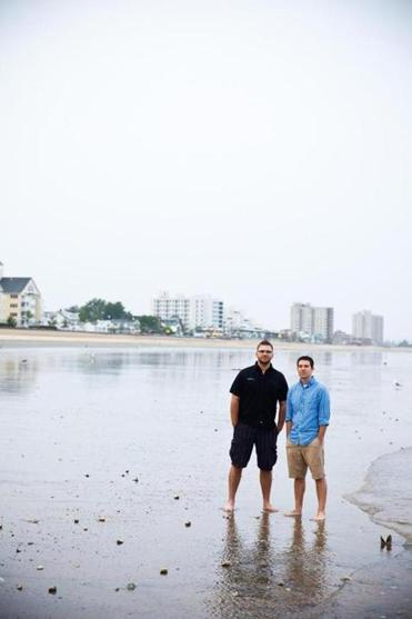 Myke Wilkerson and Brandon Allison, pictured on Revere Beach, moved their families here from Texas to start a new church.