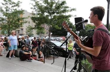 Alec Young, 21, a Berklee summer student from British Columbia, sang at an Aug. 8 concert on Boylston Street.